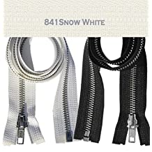 "25\"" Jacket Zipper, YKK #5 Aluminum Metal ~ Medium Weight ~ Separating ~ 841 Snow White (1 Zipper/pack)"