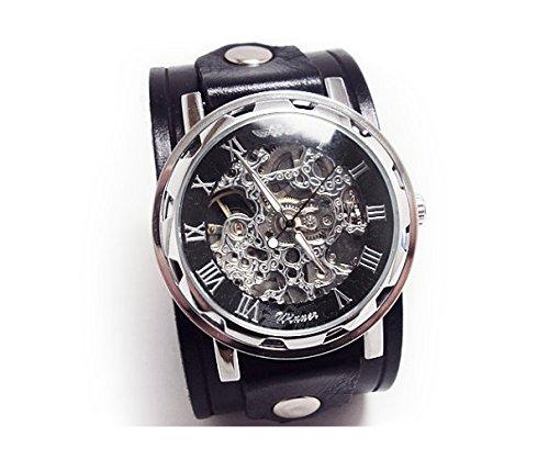 Leather Watch, Black Watch, Wrist Watch, Mens Watch, Cuff Watch, Gift, Steampunk  Watch, Skeleton Watch, Antique Watch, Vilon Leather   02S 4