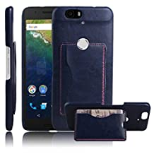 Nexus 6P Case, Premium Leather Wallet Case Cover with Stand Card Holder for Huawei Google Nexus 6P / 6 2nd Gen 2015 Phone (Bracket - Blue)