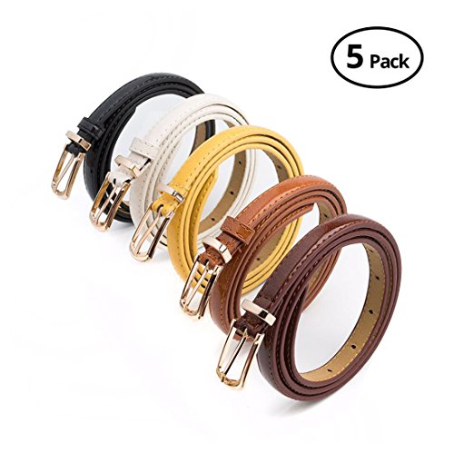 Set of 5 HBY Women Metal Fashion Skinny Leather Belt Elastic belt solid color, One Size Fits 30-34.