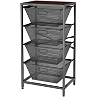 LANGRIA Shelving Unit 4-Tier Mesh Basket Storage Organizer (Gray)
