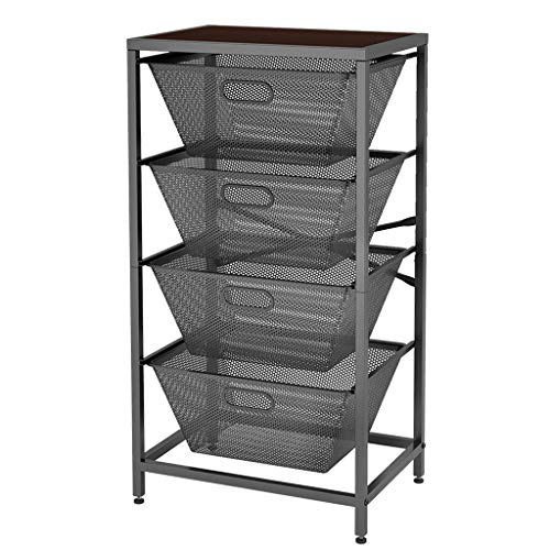 LANGRIA Shelving Unit 4-Tier Mesh Basket Storage Organizer with Sliding Drawers Heavy Duty Metal X-Frame Wooden Top Board Adjustable Feet for Laundry, Kitchen, Bedroom, Office, Living Room (Gray)