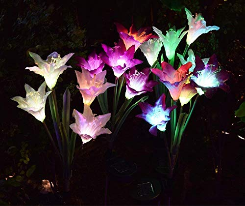AWJ Outdoor Solar Lights [4 Pack] with 16 Lily Flowers | Color Changing LED Solar Stake Lights for Garden, Patio, Path, Backyard by AWJ Products