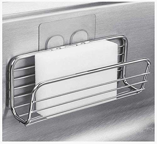 Adhesive Sponge Holder Sink Caddy for Kitchen Accessories - SUS304 Stainless Steel Rust Proof Water Proof, Quick Drying ()