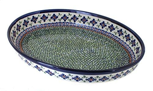 Polish Pottery Mosaic Flower Large Oval Baker by Zaklady