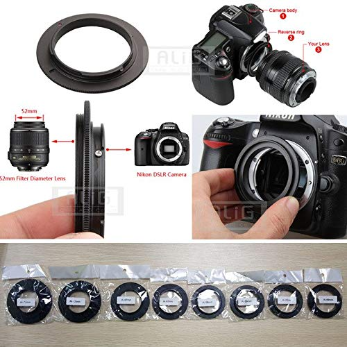 (BEESCLOVER Aluminum Camera Macro Lens Reverse Adapter Ring for Nikon AI to 49mm 52mm 55mm 58mm 62mm 67mm 72mm 77mm Thread Mount )