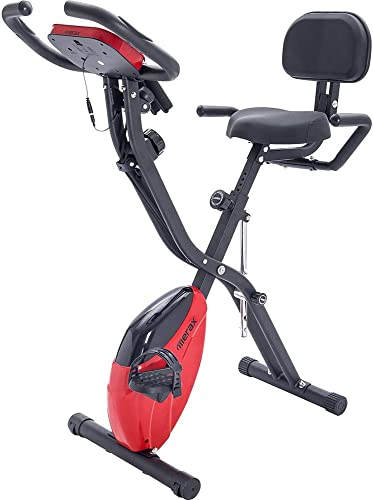 LTOOL Folding Exercise Bike, Fitness Upright and Recumbent X-Bike with 10-Level Adjustable Resistance, Arm Bands and Backrest