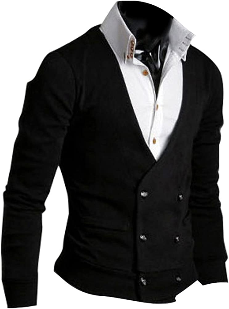 VOBAGA Mens Cardigan Slim Fit Double Breasted Cotton Knitwear Coat