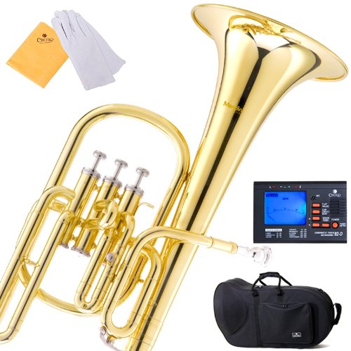Mendini MAH-L Lacquer E Flat Alto Horn with Stainless Steel Pistons, Gold