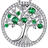 The Tree of Life Necklace Created Green Emerald Jewelry Birthday Anniversary Gifts for Her for Women Sterling Silver