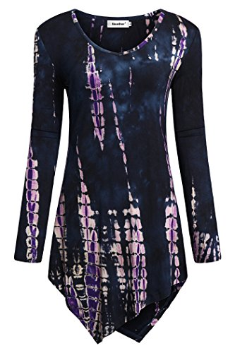 (Sixother Ladies Lone Sleeve Fall Tops, Loose Fit Plus Size Pullover Tunics for Female Cute A Line Flowy Shirts Soft Comfortable Casual Tunic Blouse for Female Purple 2XL)