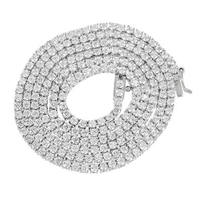 Master Of Bling 14k White Gold Finish Lab Diamond Iced Out Tennis Link Chain Solitaire Necklace ()