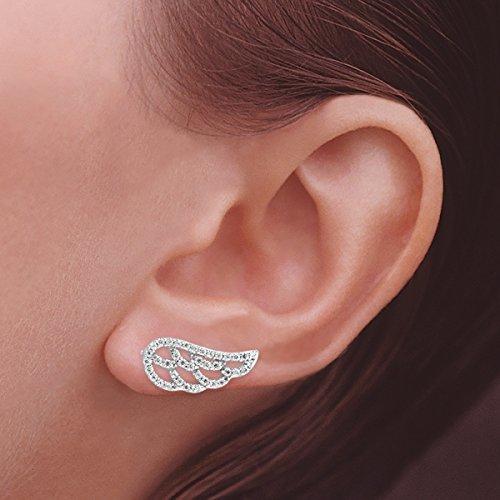 The Ear Pin Cubic Zirconia Angelic Wings Sterling Silver Earrings