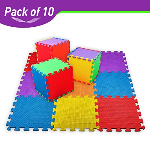 Foam Time (CREATIVE TIME Floor Mat 10-tile Multi-Color Exercise Mat Solid Foam EVA Playmat Kids Safety)