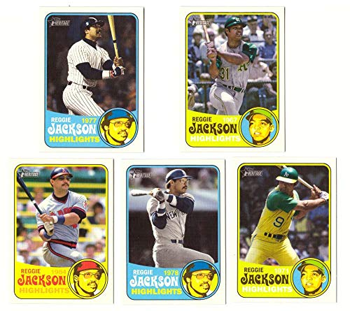 2018 Topps Heritage High Number Reggie Jackson Highlights 5 card set (Reggie Jackson Numbers)