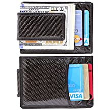 Money Clip, Front Pocket Wallet, Leather RFID Blocking Strong Magnet thin Wallet (one size, Black(Carbon Fiber))