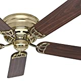 "Hunter Fan 52"" Low Profile Ceiling Fan in Hunter Bright Brass, 5 Blade (Certified Refurbished)"