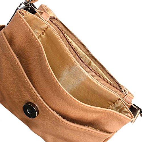 Pequeño rápido suave cuero auténtico de la aleta del hombro del bolso de Silver Fever® bronceado