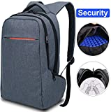 LAPACKER 15.6 Anti Theft Slim Water Resistant Laptop Backpack Bag for Men&Women Lightweight Business Travel College Computer Backpacks for Laptop in Grey Blue