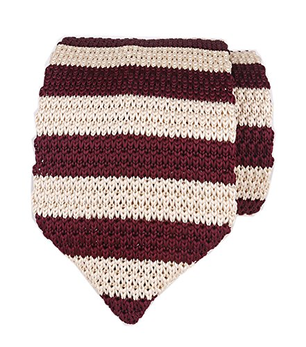 (Men Burgundy Red Beige Knit Tie Accessory Narrow Stripe Necktie Gift for Husband)