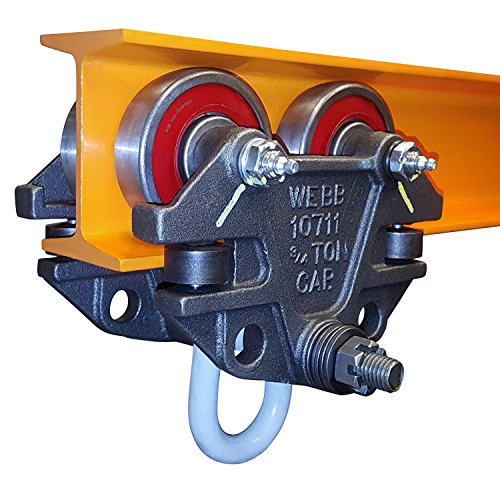 Jervis Webb Beam Trolley With Side Guide Rollers. Heavy Duty 3/4 Ton 1,500 Pounds Capacity. Industrial Grade Conveyor Trolley for I-Beams and Chain Hoists (Trolley Triple)