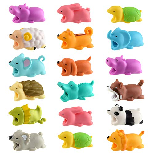 TUPARKA 18 PCS Animal Cable Protector Cute Animal Charger Cord Saver USB Charging Cable Protector Works with Most Cell Phone Charging Cable