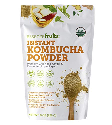 Kombucha On The Go - Instant Kombucha Powder Super Drink - Just Add Water Mix and Drink - Premium Probiotic & Prebiotic Drink Mix, Delicious, No Sugar Added, Clean Label - Makes 17 up to 34 cups