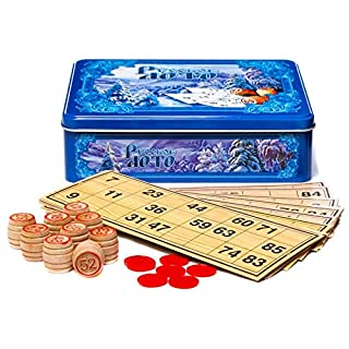 Wooden Russian Bingo Game Set in a Metal Box Russian Lotto Russian Board Games Winter Pattern Blue
