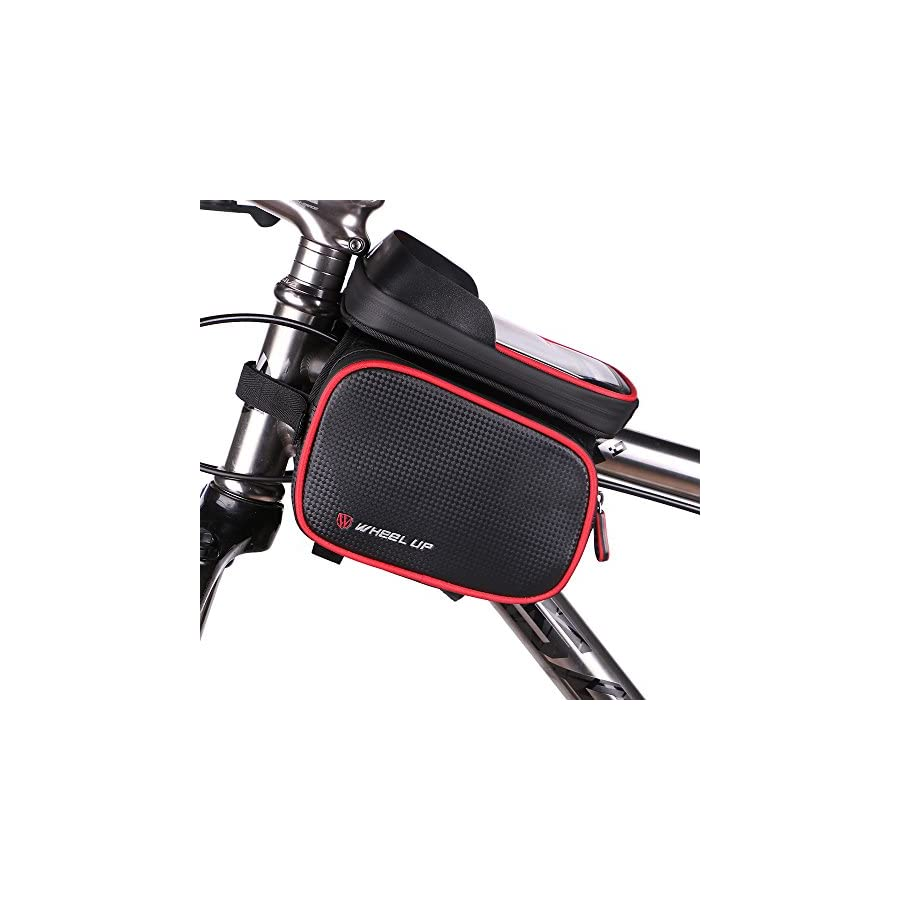 Bike Phone Mount Bag, Waterproof Universal Cycling Bicycle Frame Bags Phone Mount Holder For Iphone 6/6s/7/7s/8/X plus samsung 7 note 7 Below 6.2 inch Top Tube Handlebars Storage Bag