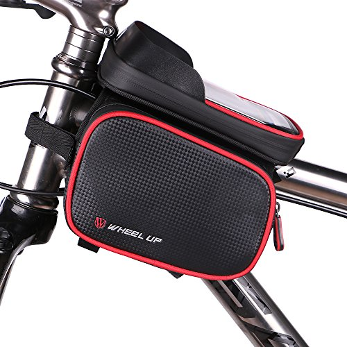 Bike Phone Mount Bag, Waterproof Universal Cycling Bicycle Frame Bags Phone Mount Holder For Iphone 6/6s/7/7s/8/X plus samsung 7 note 7 Below 6.2 inch Top Tube Handlebars Storage (Waterproof Bike Mount)