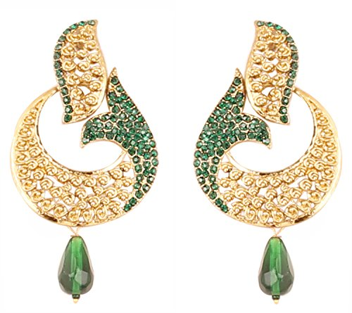 (Touchstone Indian Bollywood curved fish green crystals jewelry earrings in antique gold tone for women)