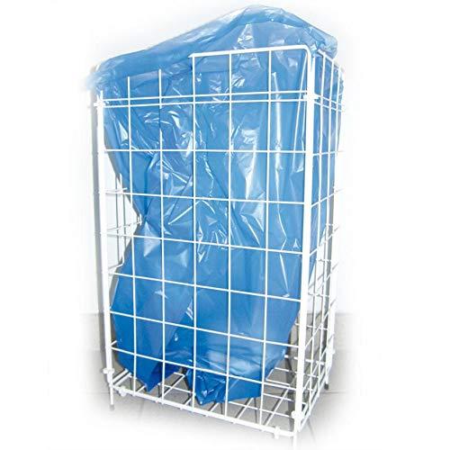 Gitterkorb für Müllbeutel, Metallgitterkorb, Wäschekorb, Gitterkorb Metall, 57 x 36 x 25 cm, Weiß, 1 Stück