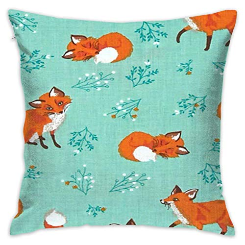 Forest Fellow Foxes Throw Pillow Cover,18 x 18 inch Cotton Pillow Cover Soft Cotton Home Decor Cushion Case for Sofa Bedroom Car Decoration Cushion Cover