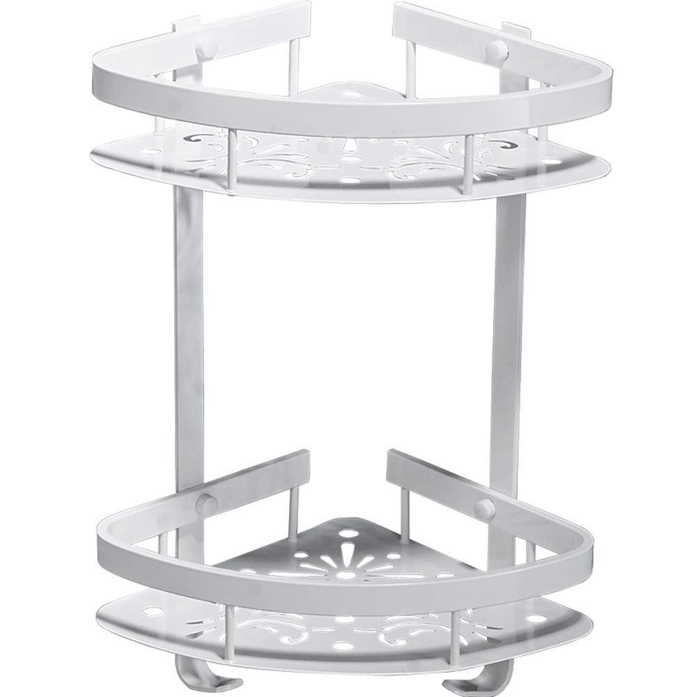 HQQ Badregal Dusch-Organizer Wand-Locher frei Dreieck Korb Ecke Space Aluminium 2-Tier Haken Zaun Drain, weiß (größe : 220x41.5mm)