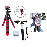 """12"""" Inch Flexible Tripod w/ Flexible wrapable Disc Legs Red & Black with Quick Release Plate + Extension Pole 8.5"""" - 43"""" Inches (3.6 Feet) for GoPro Hero1, Hero2, Hero3, Hero3+ & Hero4 Cameras + Ecost Connection Microfiber Cloth"""