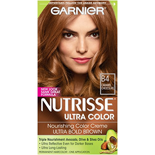 Garnier Nutrisse Ultra Color Nourishing Permanent Hair Color Cream, B4 Caramel Chocolate (1 Kit) Brown Hair Dye (Packaging May Vary)