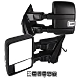 #10: ECCPP F150 Towing Mirrors, A Pair of Exterior Automotive Mirrors for 2015-2017 Ford F-150 with Auxiliary/Puddle/Clearance Lights Signal Indicator and Power Operation Heated Black Housing
