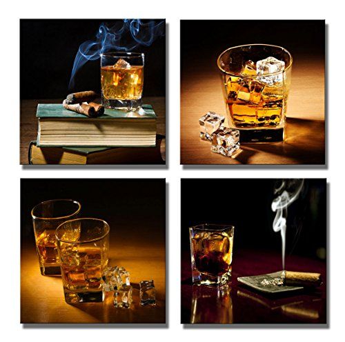 Yin Art- 4 Panels Canvas Prints Wine Whisky & Cigar Pictures on Canvas Wall Art Modern Artwork 30x30cm (Whiskey Cigar Poster And)