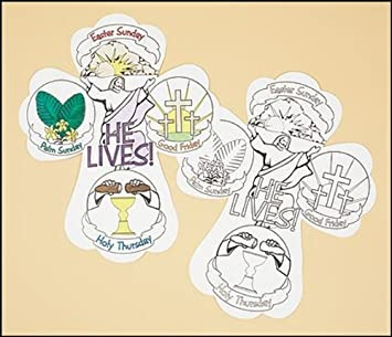 Amazon.com: Color Your Own Holy Week Cross Arts & Crafts Easter ...