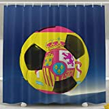 Spain Flag World Soccer Fashion Shower Curtain Deluxe Waterproof Bath Curtain 60 x 72inch