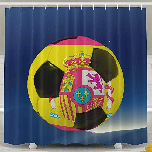 Spain Flag World Soccer Fashion Shower Curtain Deluxe Waterproof Bath Curtain 60 x 72inch by shower curtain doormat