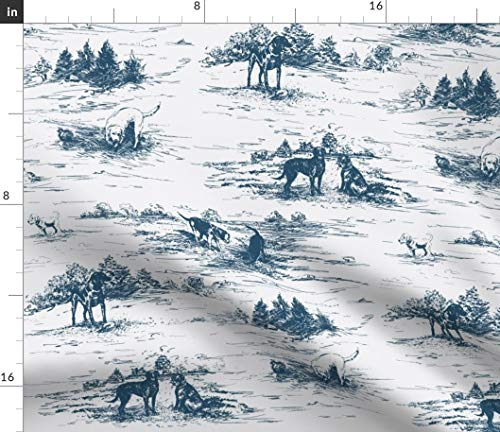 - Labrador Toile Fabric - Dog Toile Home Decor Labrador Indigo Blue Toile Dog Lab Puppy Pet Modern Home Print on Fabric by the Yard - Petal Signature Cotton for Sewing Quilting Apparel Crafts Decor