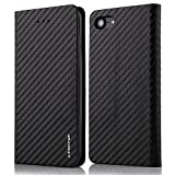 For iPhone 7 (4.7 inch) Case,L-FADNUT Premium Carbon Fiber Lines Flip PU Leather Case,Magnetic Closure with Stand Wallet Card Slot Protective Bumper Silicone Cover Black