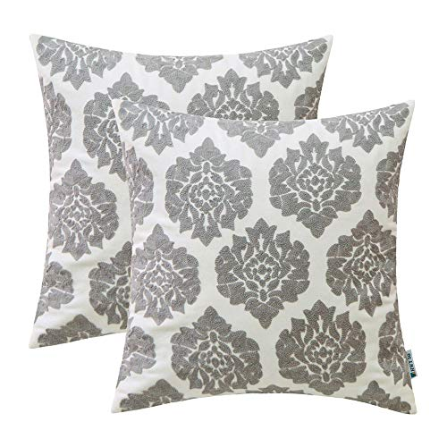 HWY 50 Grey Embroidered Decorative Throw Pillows Covers Set Cushion Cases for Couch Sofa Living Room Gray Modern Geometric Floral Chic Abstract 18x18 inch Pack of 2
