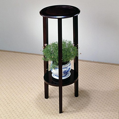 Cheap 1PerfectChoice Accent Round Plant Side Stand Table with Bottom Storage Display Shelf, Cappuccino