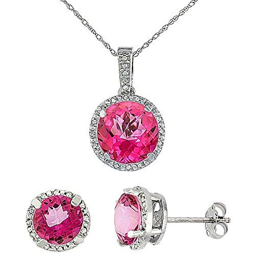Or blanc 9Ct Topaze naturel rond rose Boucles d'oreilles et pendentif Set Accents de diamant