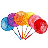 """JOCHA Telescopic Butterfly Fishing Nets Great for Kids Catching Insects Bugs Fish Caterpillar Ladybird Nets Outdoor Tools Colorful Extendable 34"""" Inch (6 Pack)"""