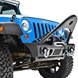 GSI Jeep JK Wrangler Black Stinger Front Bumper with Winch Plate and D-Rings
