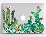 Floral Pattern Flower Cactus Hard Case for Macbook Pro 13 A1706 A1708 A1989 Succulent Cactus Laptop Case for Apple Mac Pro 13 inch Latest Release 2018 Durable Shell Cover MA2147
