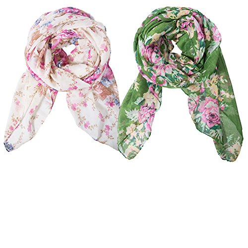 2 Pack Lightweight Scarves: Fashion Flowers Print Shawl Wrap For Women